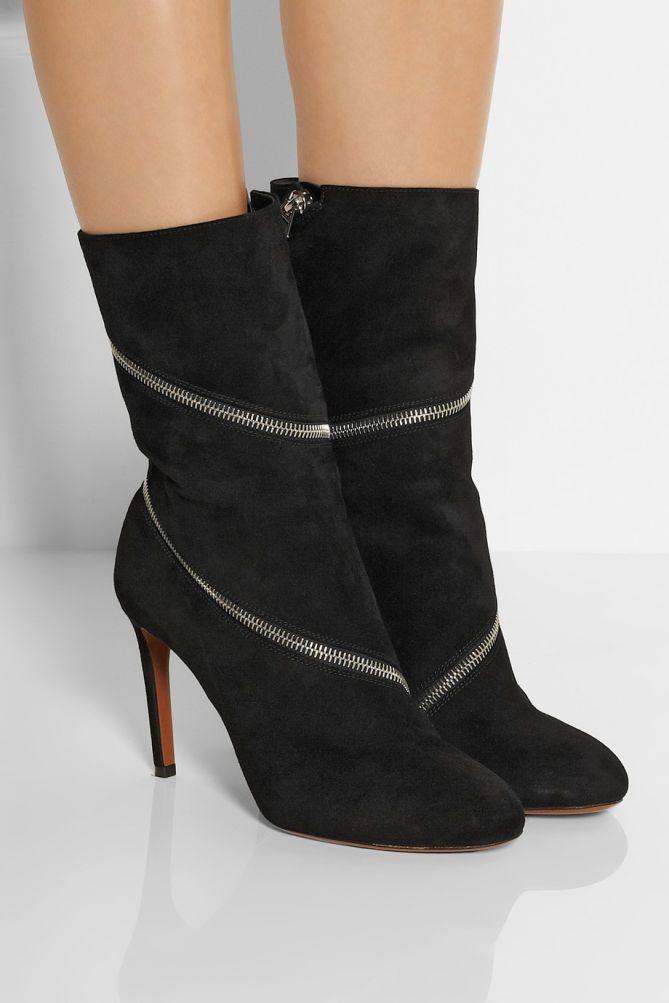 Shoes Post — ALAÏA Zipped Suede Ankle Boots Alaïa's edgy suede.
