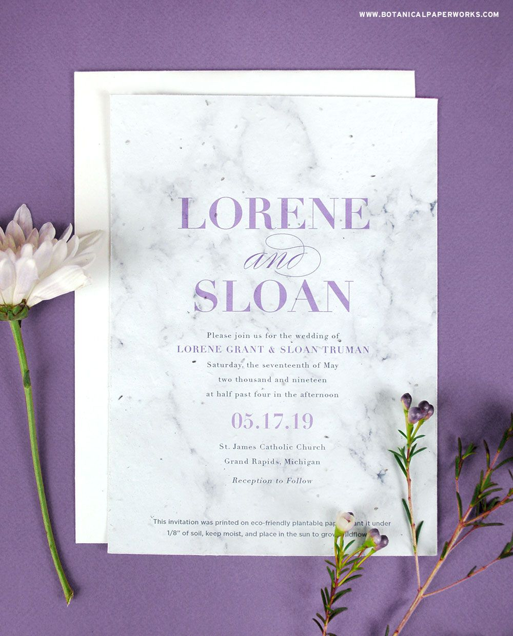 Marble Plantable Wedding Invitations | Seed paper, Weddings and Wedding