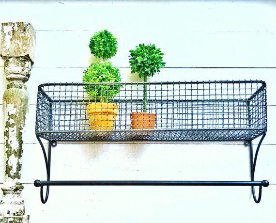 Gunmetal Grey Large Urban Loft Wire Basket ,Lotion Holder ,Small Bathroom,  Metal,