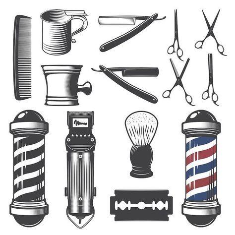 Set Of Vintage Barber Shop Elements Vintage Barber Barber Shop Barber Tattoo