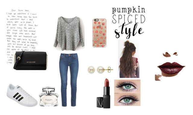 """""""Untitled #21"""" by elene-ioseliani on Polyvore featuring M.i.h Jeans, Lord & Taylor, adidas, NARS Cosmetics, Michael Kors, Casetify, LASplash and Gucci"""