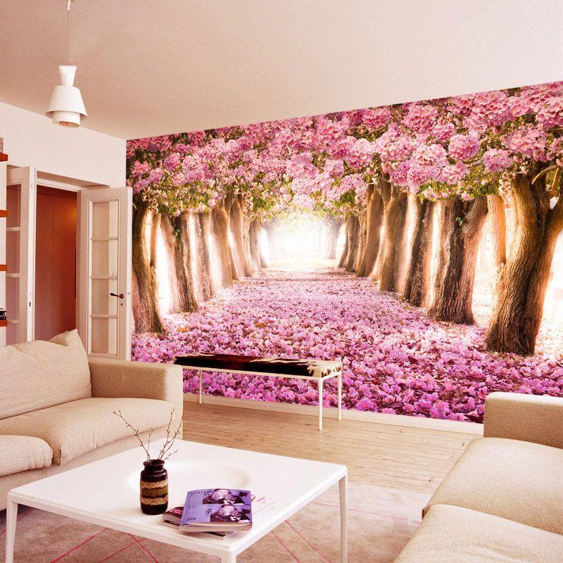 Pas cher Cerise fleur papier peint murale 3d stéréo chambre