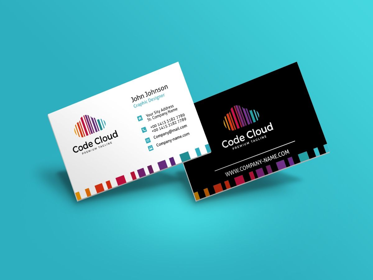 Code Cloud Business Card Corporate Identity Template Business Cards Corporate Identity Business Cards Creative Templates Colorful Business Card