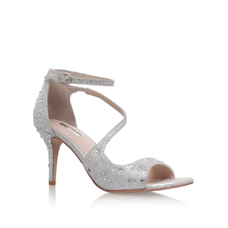 Gamma Silver Mid Heel Sandals By Carvela Kurt Geiger