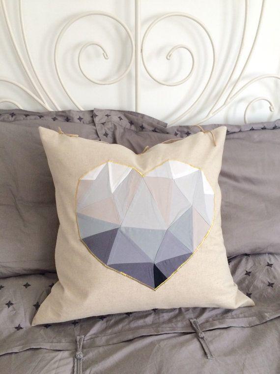 Geometric heart cushion cover grey / linen throw by chubbyABC