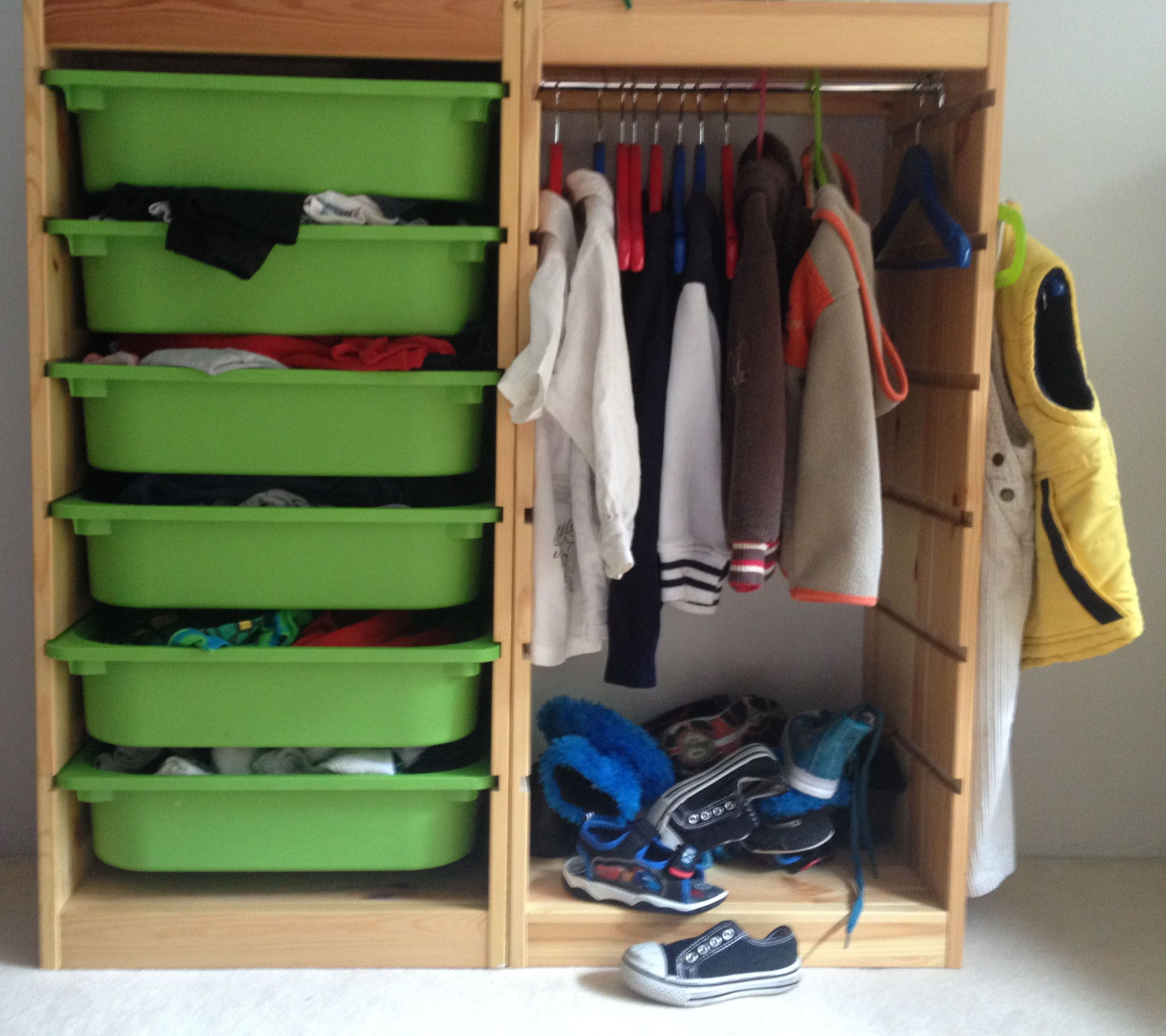 Ikea trofast hack closet. Maybe another bucket under hangers for ...
