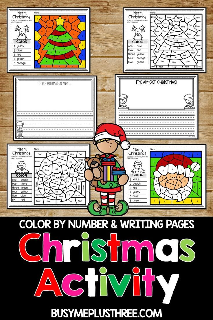 Christmas Activities for Math and Writing | Color by Number and Writing Sheets Are you looking for