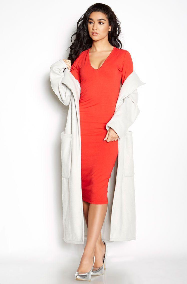 Rebdolls Essential Long Sleeve V-Neck Midi Dress - Red