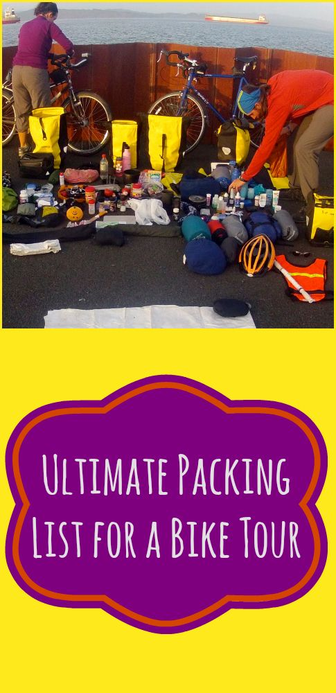 Ultimate Packing List for a Bike Tour. This is a super detailed list of everything you need for a long distance bicycle tour. Includes gear, camping equipment, clothing, bike tools and electronics. http://ourfavoriteadventure.com/packing-for-a-bike-tour/