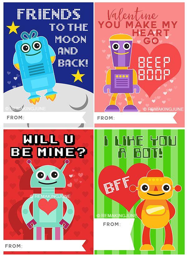 Freebie Robot Valentine Card Printable Remakingjune Marked With