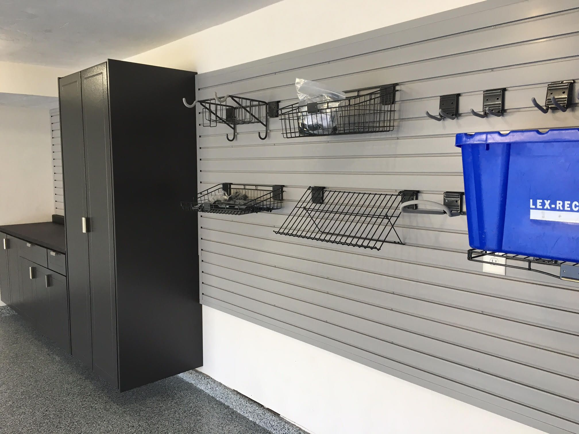 pin slatwall wall workshop slat cabinets and photo garage gallery
