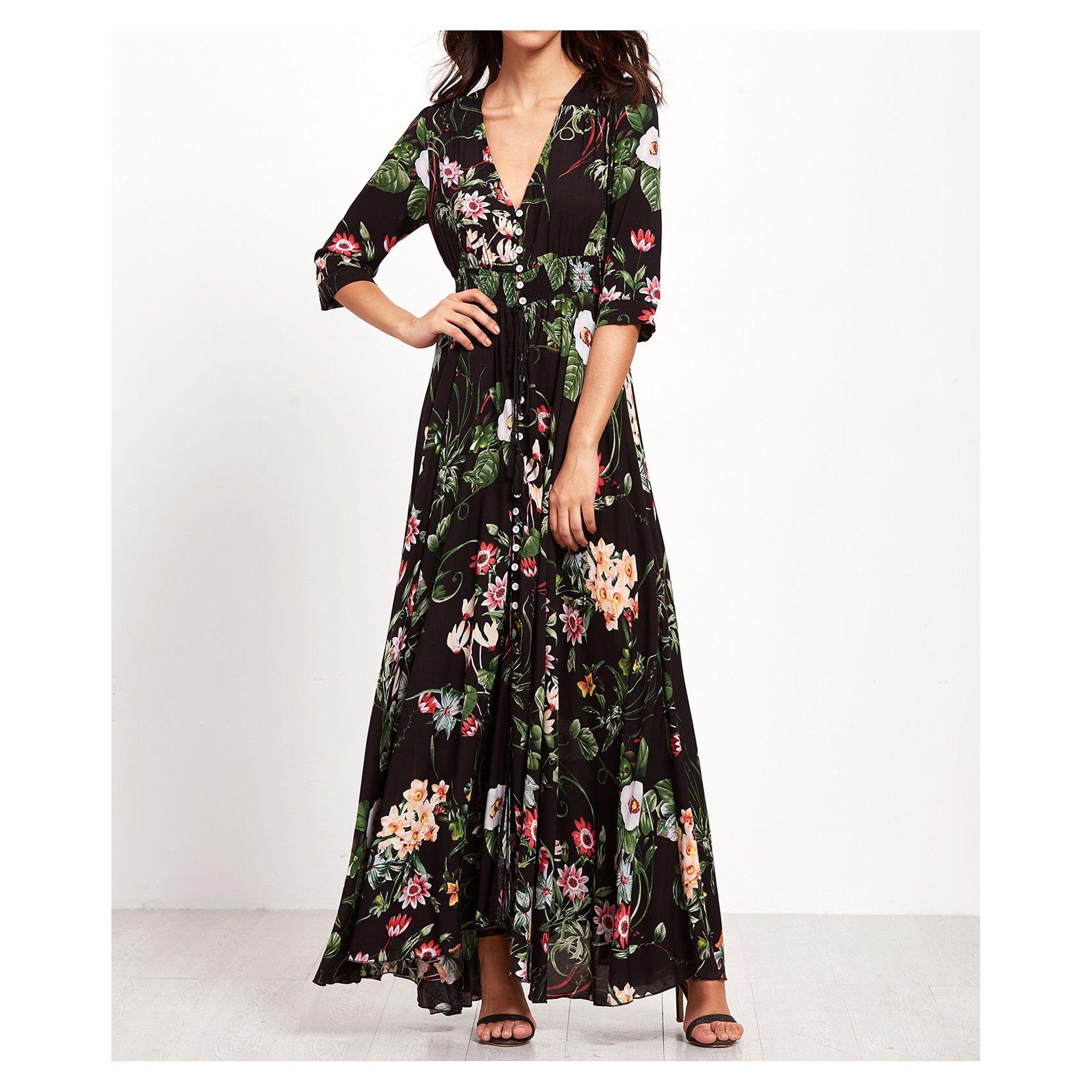 Black Floral Print Button Down 3 4 Sleeve Maxi Dress Floral Dress Casual Maxi Dress Womens Maxi Dresses [ 2048 x 2048 Pixel ]