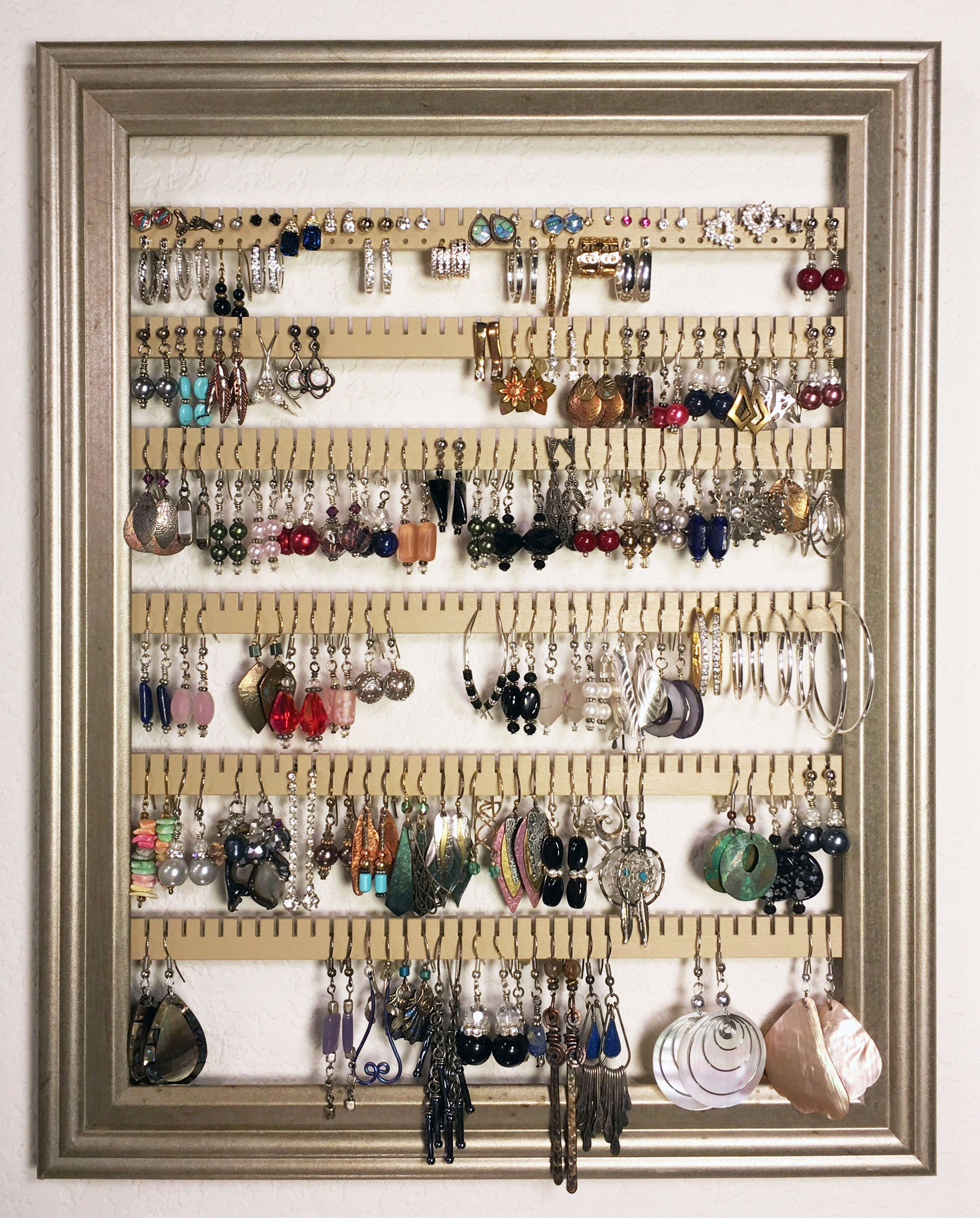 Earring Holder 228 Slots For Earrings 38 Holes Holds 133 Pair If You Used Every Slot Hanging Jewelry Hanging Picture Frames Earring Holder Picture Frame