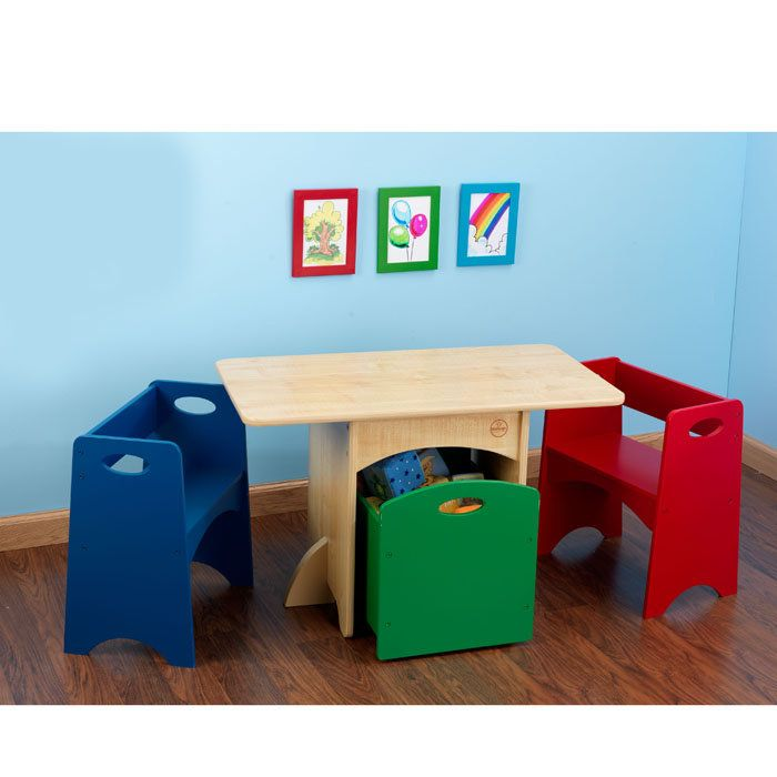 Kidkraft Kids Wooden Storage Table W 2 Primary Color Benches Would Love To Have This For The