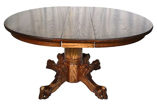 Antique Oak Lions Head Claw Foot Table C 1900 1910