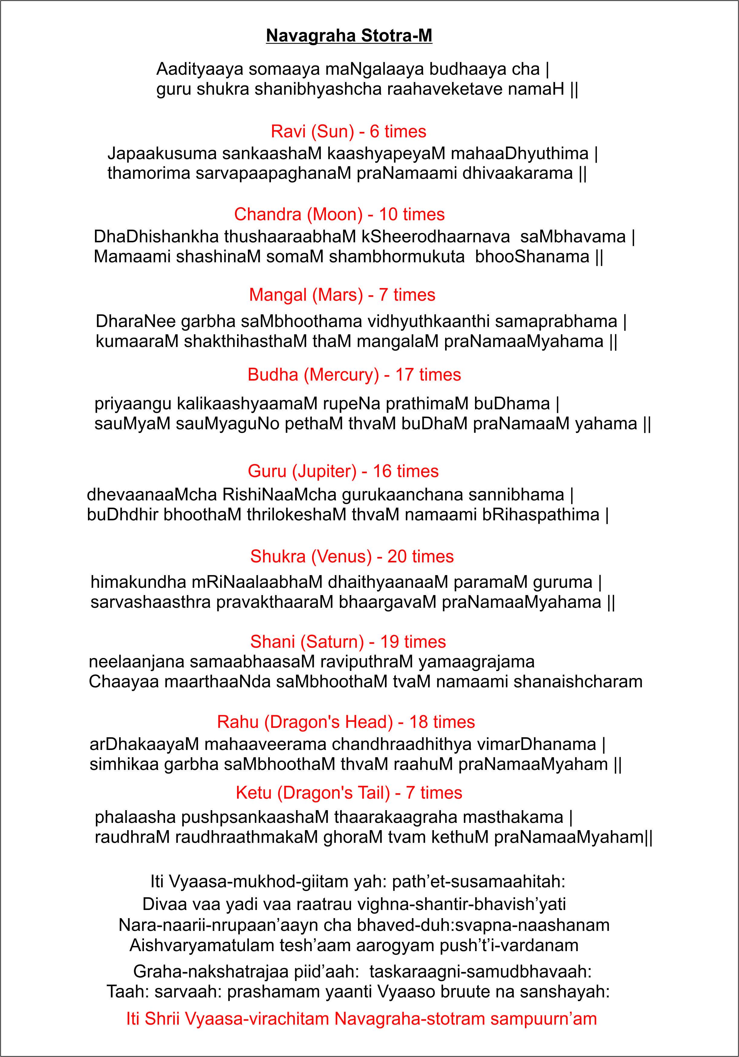 In pdf mantra navagraha tamil