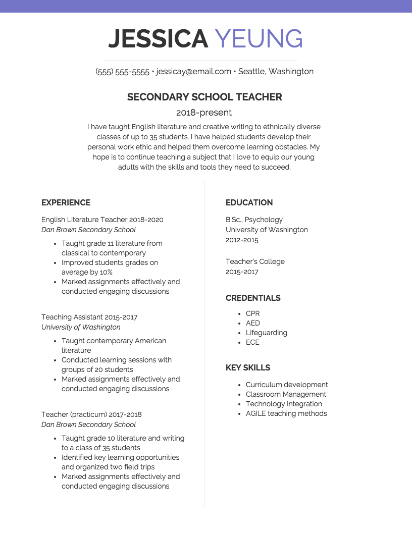 Basic Teacher Resume (With images) Teacher resume