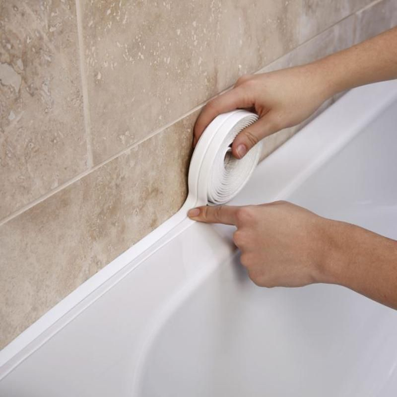 3 4mx38mm Bathroom Shower Sink Bath Sealing Strip Tape White Pvc Self Adhesive Waterproof Wall Sticker For Ba Bathroom Wall Stickers Caulk Tape Bathroom Shower