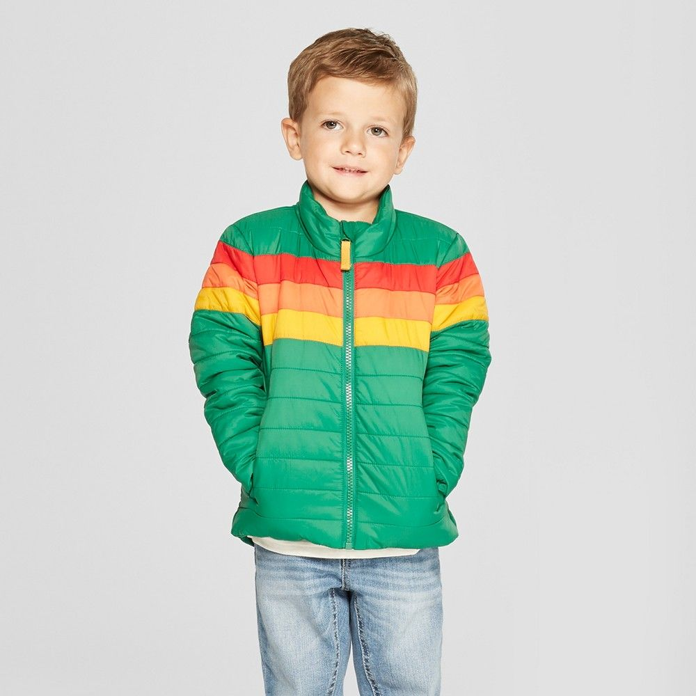 Toddler Boys' Rainbow Midweight Puffer Jacket - Cat & Jack ...