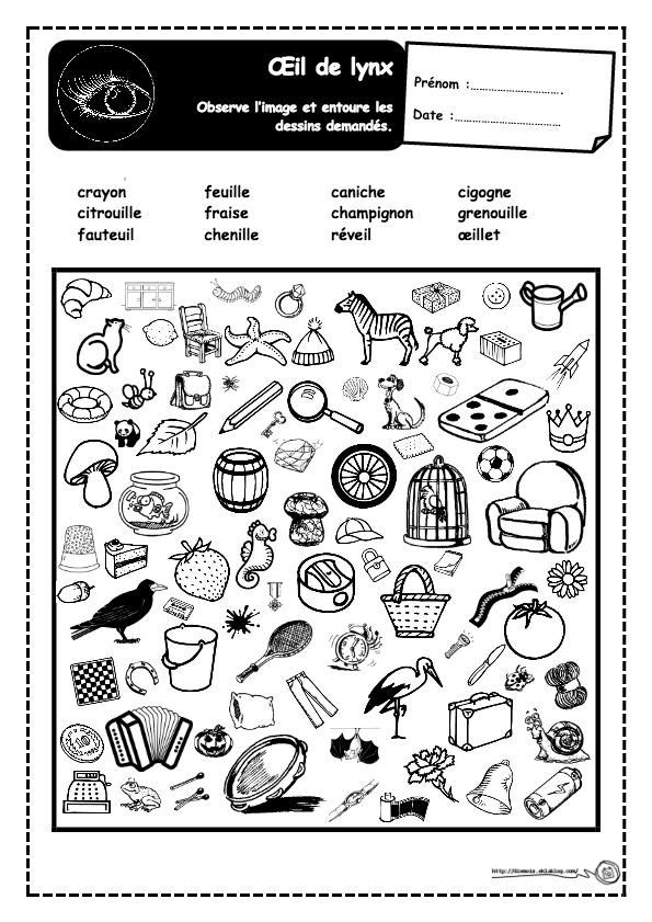 Regarde l'image et entoure les noms des objets indiqués.