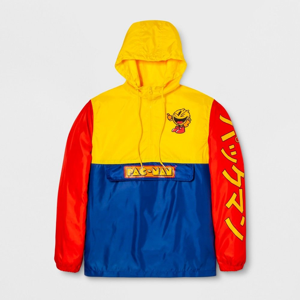 Men s Long Sleeve Pac-Man Hooded Pullover Anorak Jacket - Navy Yellow Red  2XL, Multicolored f0c5caaffd5