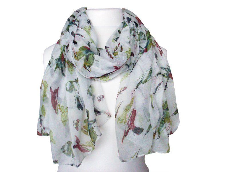 Spring birds print scarf