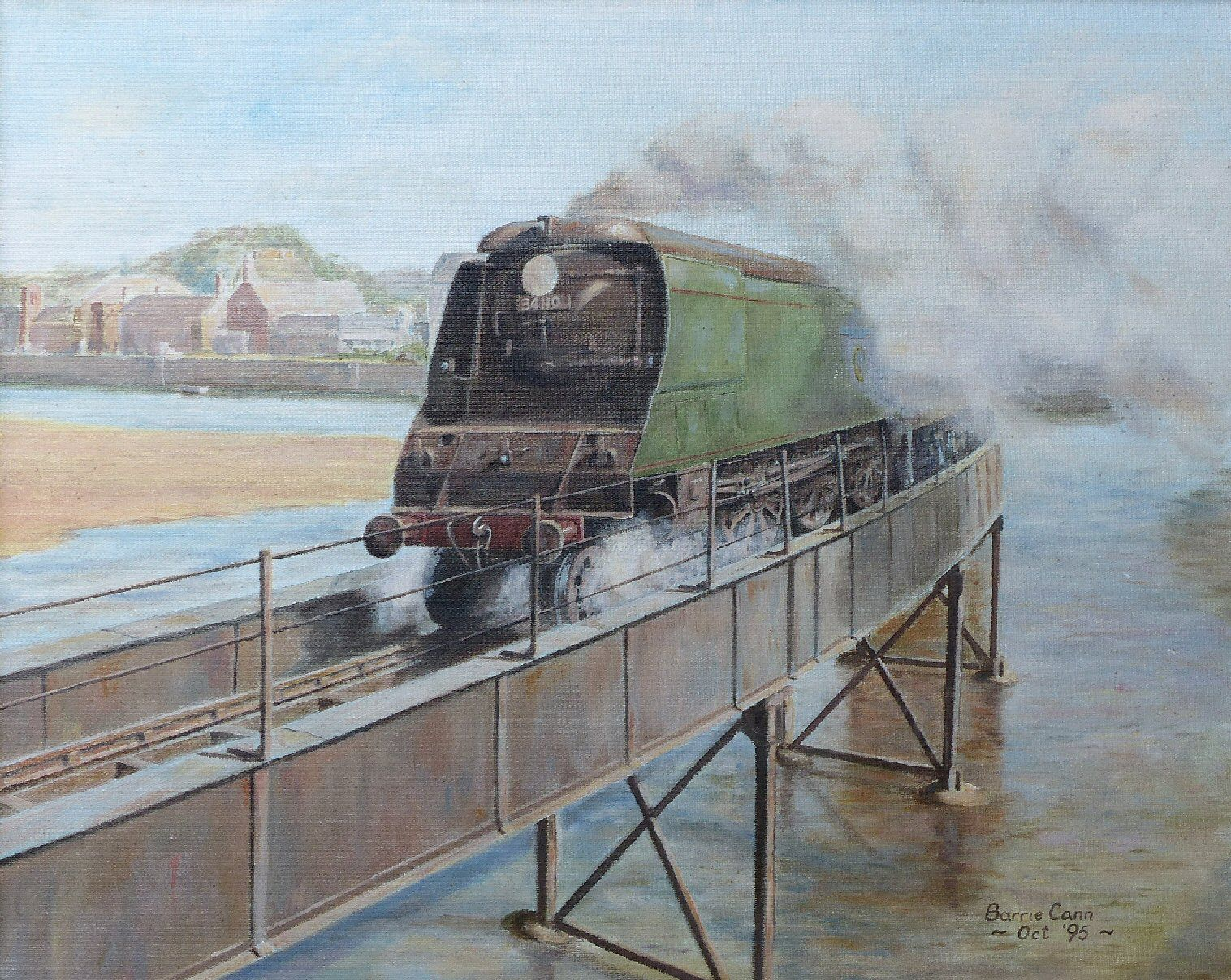 Original oil painting by Barrie Cann - Bulleid Light Pacific