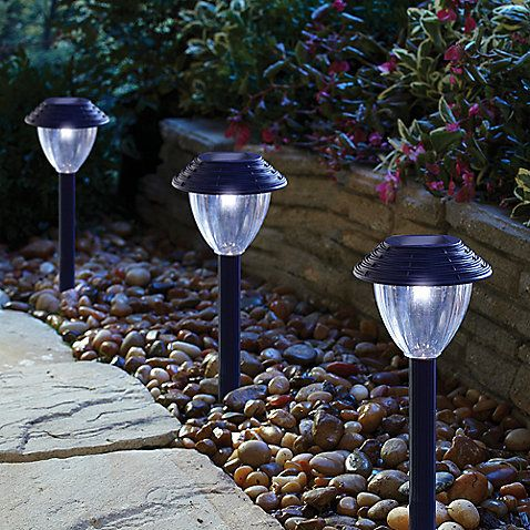 A stylish and simple way for safely lighting any path solar panel collects sunlight during the day to automatically light up the marker at night
