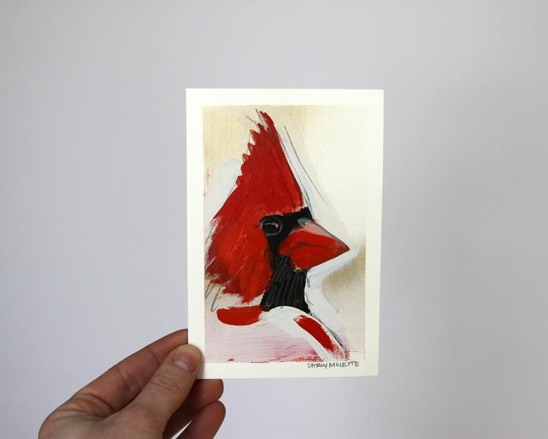 Cardinal Study 7, original mixed media painting by Darcy Millette in