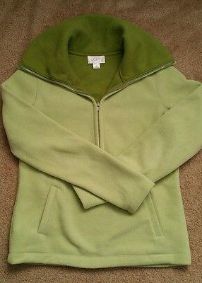 Ann Taylor Loft women's green fleece pullover 3/4 zip size xs extra small