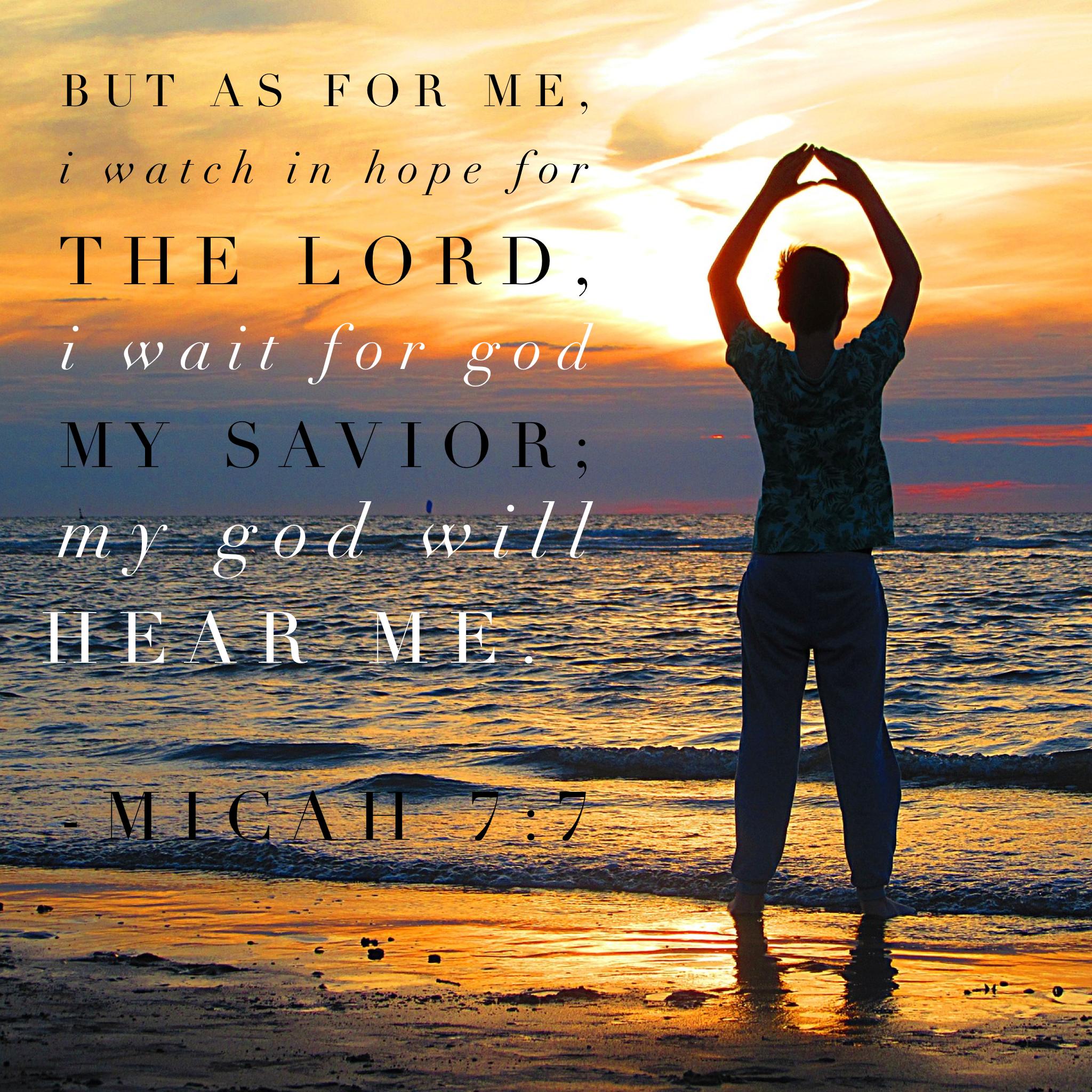Micah 7:7  But as for me, I watch in hope for the Lord, I wait for God my Savior; my God will hear me.  Miqueas 7:7 (NVI)  Pero yo he puesto mi esperanza en el Señor; yo espero en el Dios de mi salvación. ¡Mi Dios me escuchará!