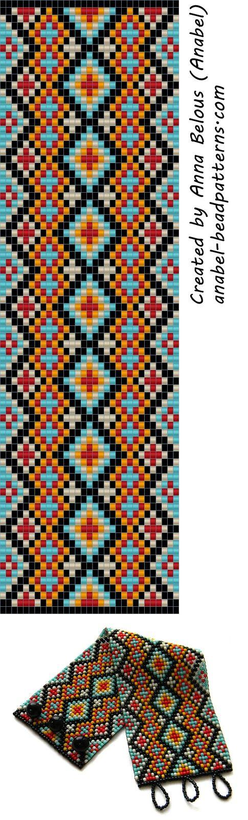 схема широкого браслета из бисера станочное ткачество