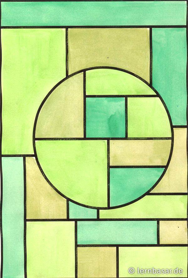 geometrische formen ton in beispiel kunst kunstunterricht acrylbilder grün abstrakt bild frau