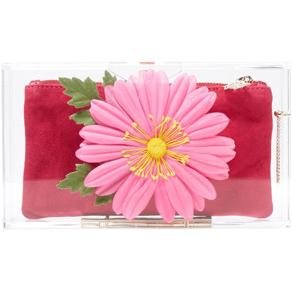 Charlotte Olympia Flowering Pandora Box Clutch (1.940 BRL) ❤ liked on Polyvore featuring bags, handbags, clutches, multi, pink pouch, floral purse, lucite purse, box clutch и pouch purse