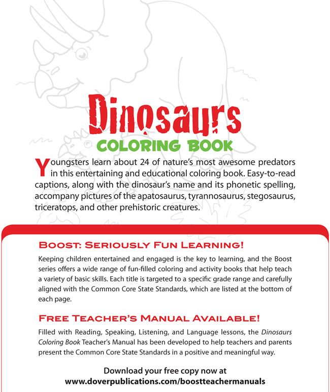 BOOST Dinosaurs Coloring Book Dover Publications | BOOST Coloring ...