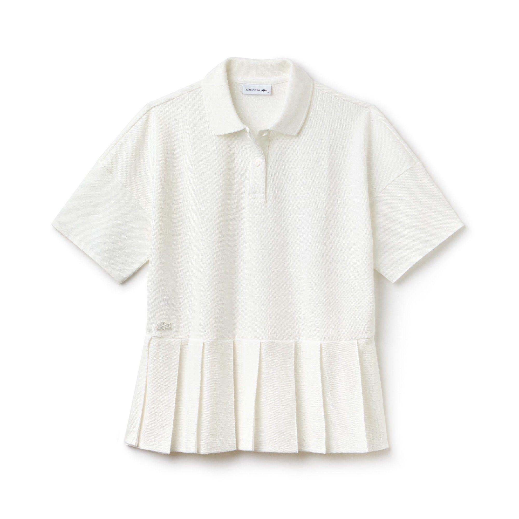 c8f7ef6e LACOSTE Women's Lacoste Pleated Thick Cotton Piqué Polo - CAKE FLOUR ...