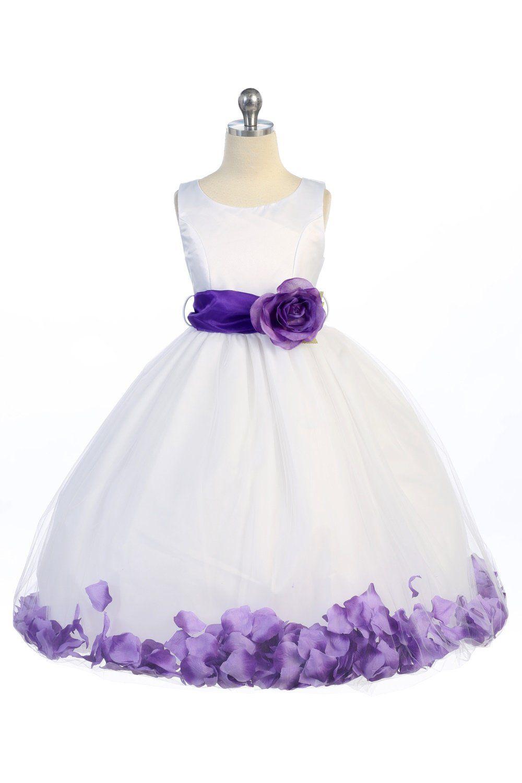White Purple Satin Tulle Petal Flower Girl Dress With Sash