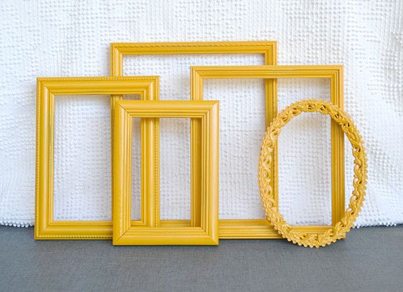 marigold yellow painted frames set of 5 upcycled frames great for gallery wall or bedroom mustard yellow grey gray decor - Yellow Picture Frames
