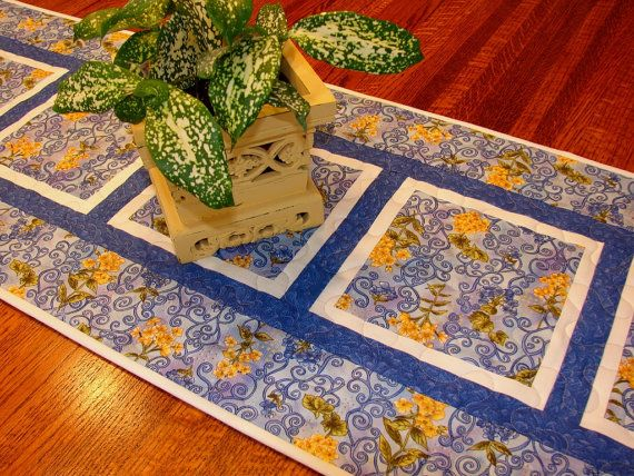 Blue and Yellow Quilted Table Runner by susiquilts on Etsy, $45.00
