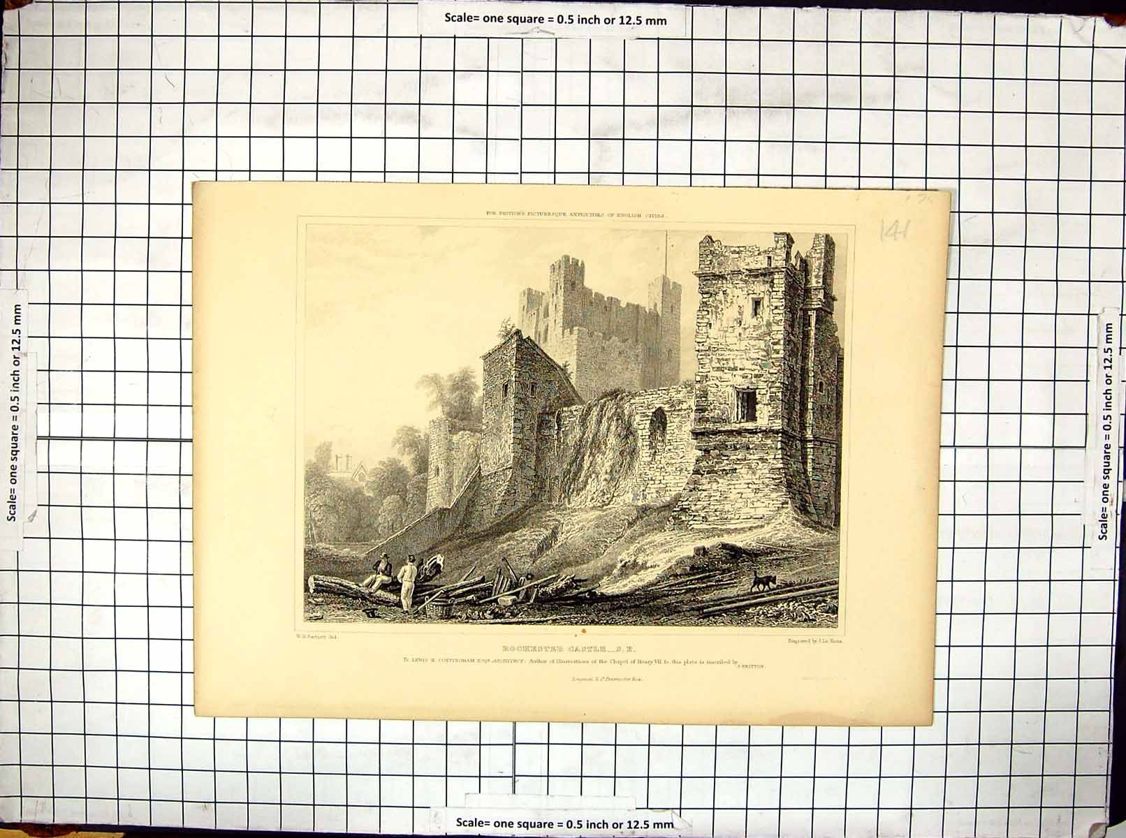 Antique Engraving Rochester Castle England Bartlett Keux Architecture