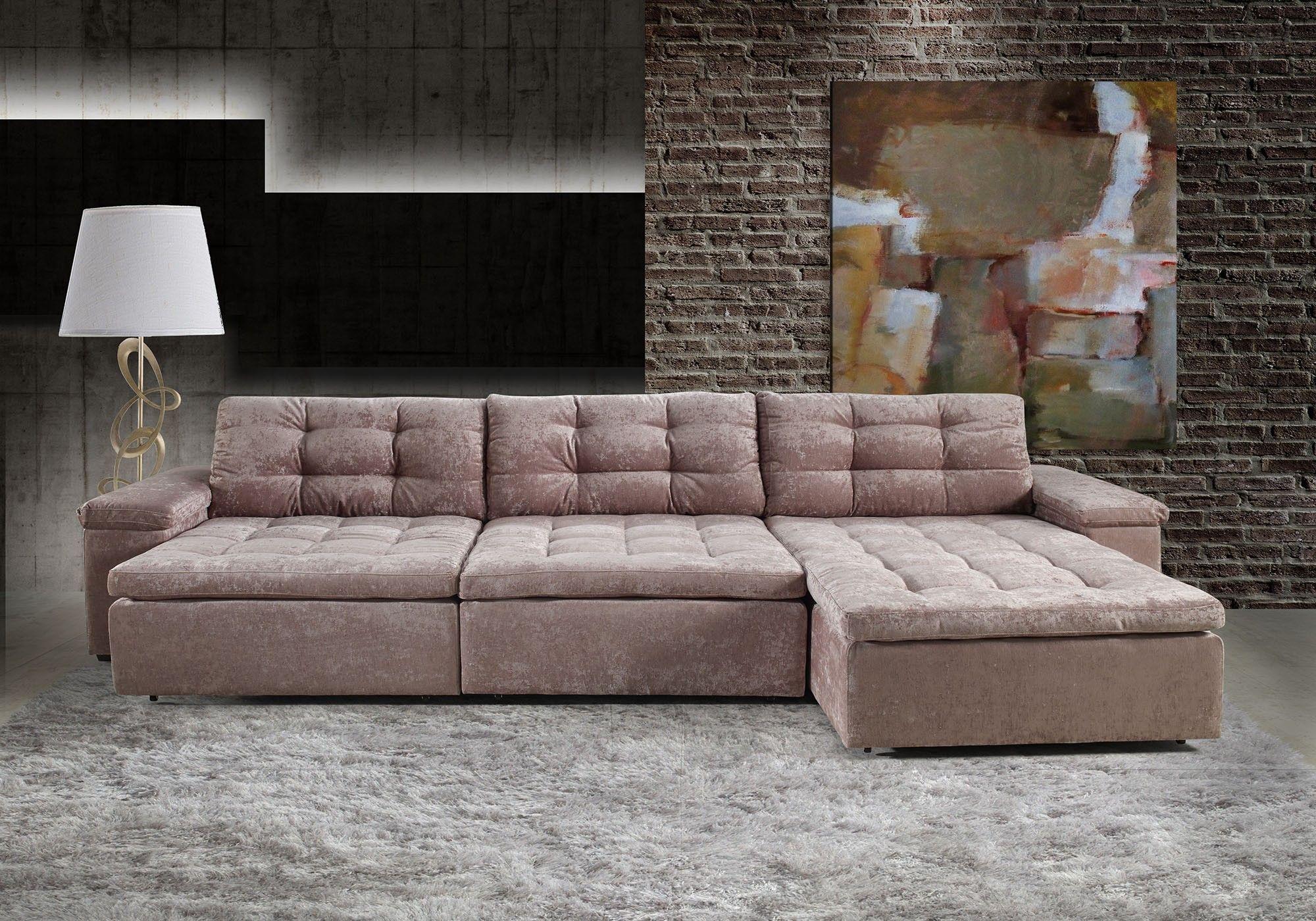 Sof apreccie 5 lugares assento retr til e encosto for Sofa 4 lugares reclinavel e assento retratil