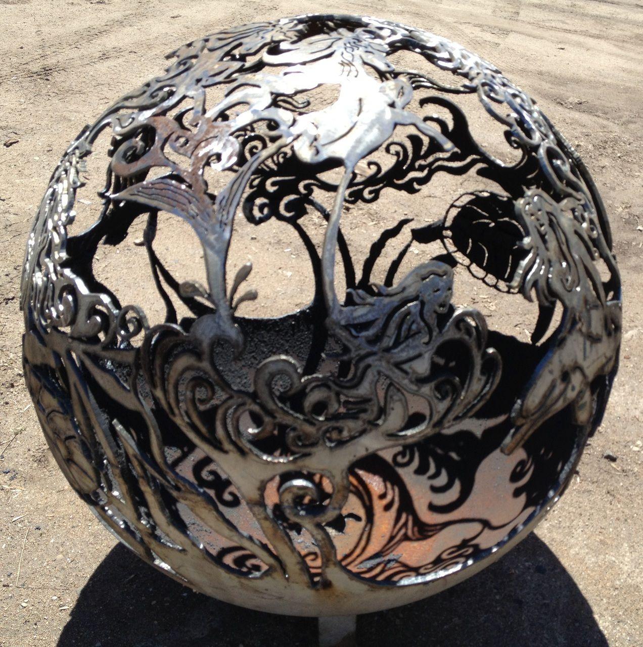 beautiful artistic mermaid fireball fire pit globe. Black Bedroom Furniture Sets. Home Design Ideas