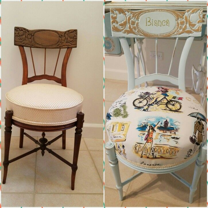 Refinished And Reupholstered A Vanity Chair Vanity Chair Home