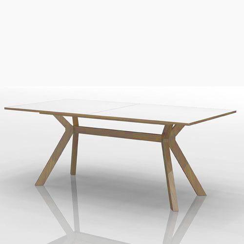 Esstisch Tisch Santos Weiss Gestell Eiche Massiv Ausziehbar 180