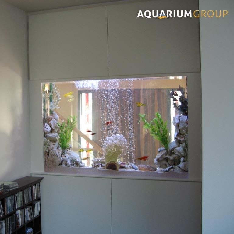 Custom made through wall fish tank cupboards deco for Fish tank in wall