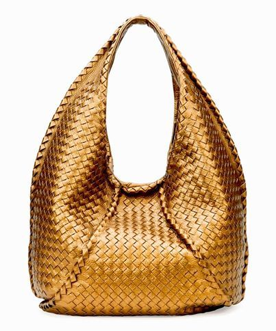 a40f61480d Go for the gold with Bottega Veneta s Cervo Large Metallic Hobo Bag! The  signature intrecciato