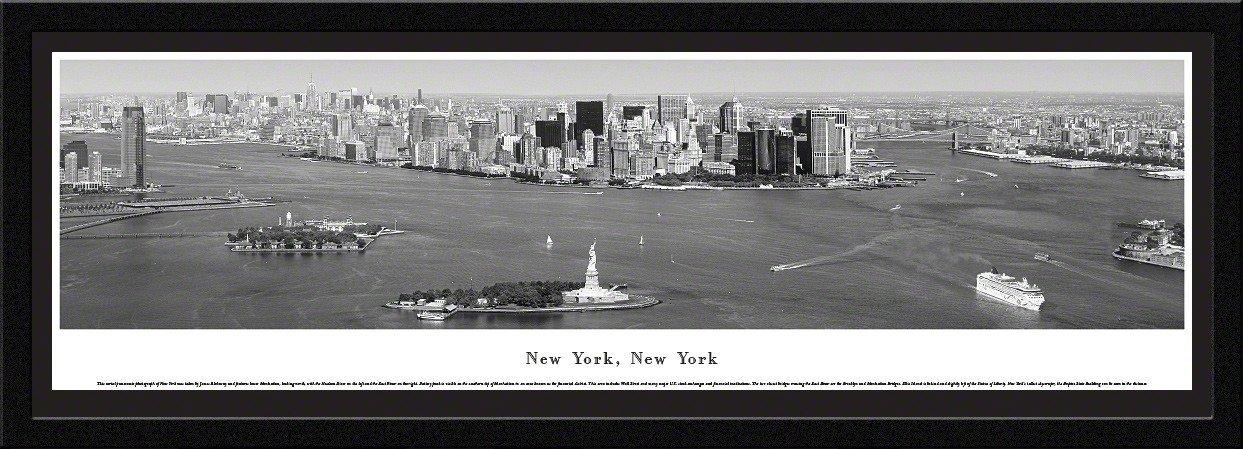 New York Skyline Panoramic Picture Framed, New York (Black