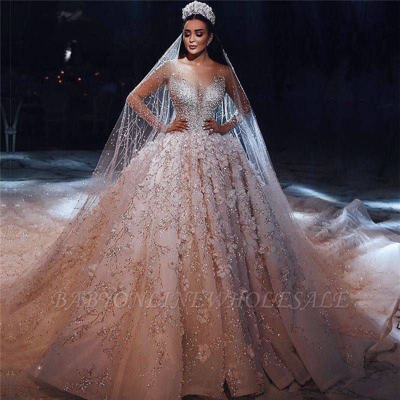 Luxury Beading Floral Bridal Gowns Sheer Neck Long Sleeves Ball Gown Wedding Dresses Long Sleeve Ball Gown Wedding Dress Bridal Dresses Ball Gown Wedding Dress,Party Wear Maria B Wedding Dresses For Girls 2019