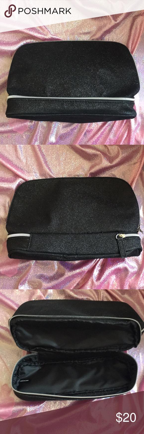 Huge Black Lancôme Makeup Bag Makeup bag, Black glitter