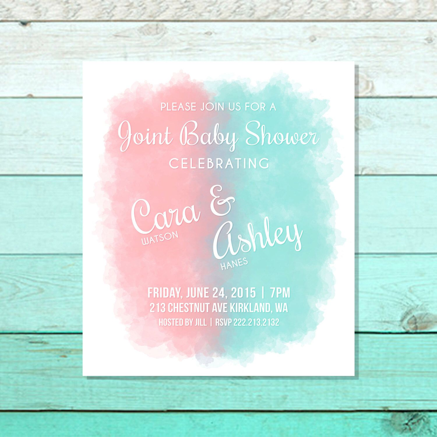 Printable Joint Baby Shower Invitation, Twins Baby Shower Invite ...
